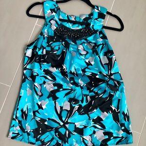 Blue & black floral, silky tank top